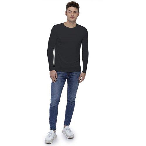 T-shirt col rond bande rapportée manches longues en modal BENJI - RENDEZ-VOUS PARIS - Modalova