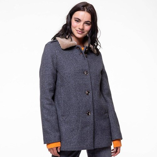 Manteau court en laine avec col fourrure amovible MONTORY - TRENCH AND COAT - Modalova