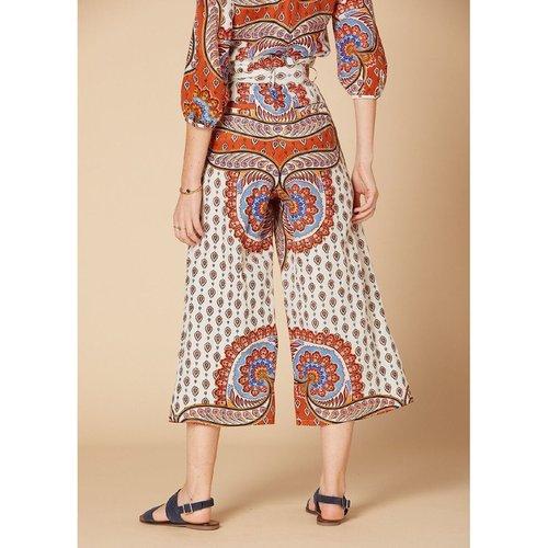 Pantalon imprimé large taille haute à nouer - DERHY - Modalova