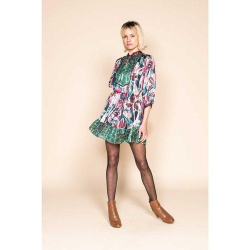 Robe courte et large en mélange d'imprimé polyester - DERHY - Modalova