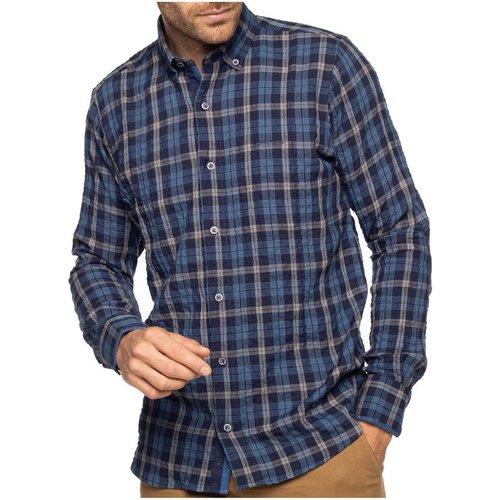 Chemise manches longues gaufrée à carreaux - SHILTON - Modalova