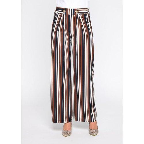 Pantalon large rayures - LOLALIZA - Modalova