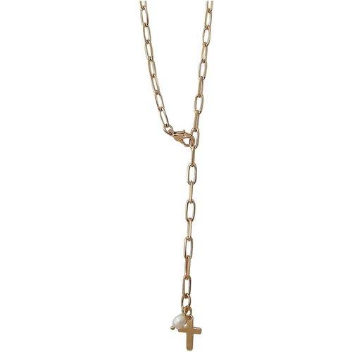 Collier croix et perle d'eau douce plaqué - SECRETS DES ANGES - Modalova