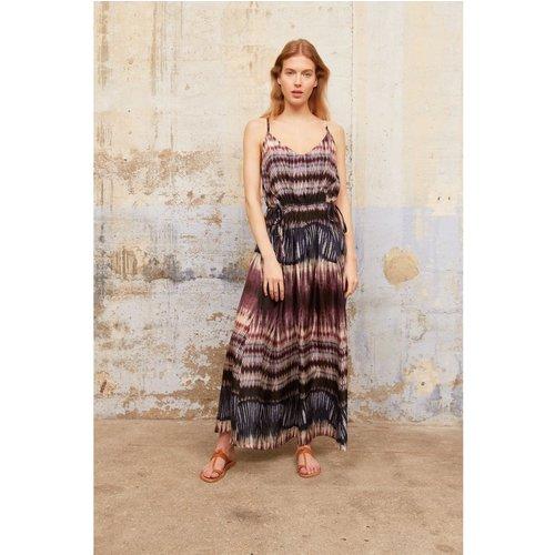 Robe longue en soie à imprimée tie & dye SAELLE - Gerard Darel - Modalova