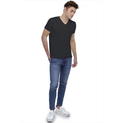 T-shirt col V bande rapportée manches courtes en modal WILL - RENDEZ-VOUS PARIS - Modalova