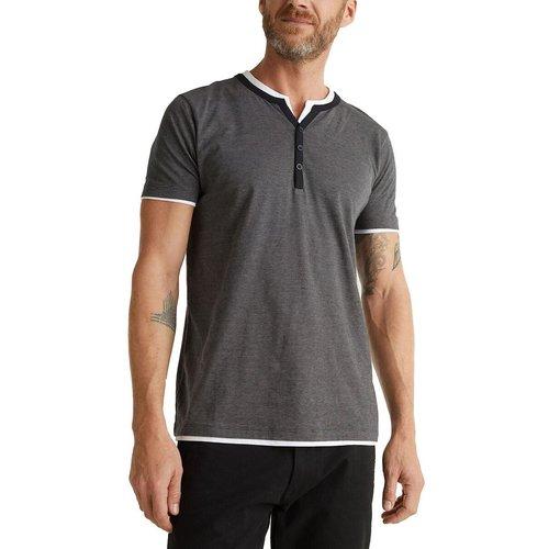 T-shirt droit col tunisien - Esprit - Modalova
