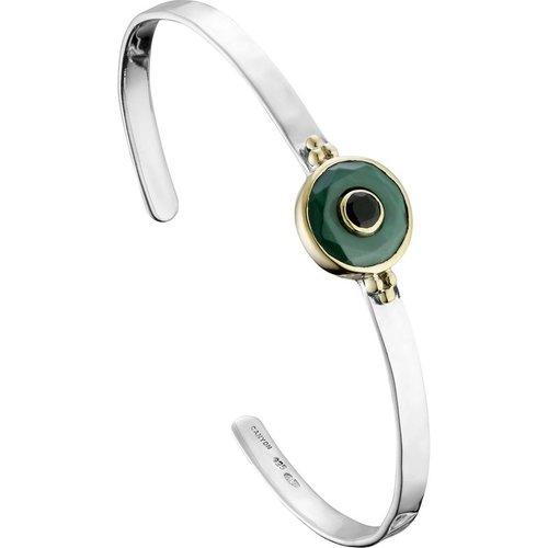 Bracelet jonc en argent 925, dorure or, Malachite, Onyx, 10.8g, Ø60mm - Canyon - Modalova