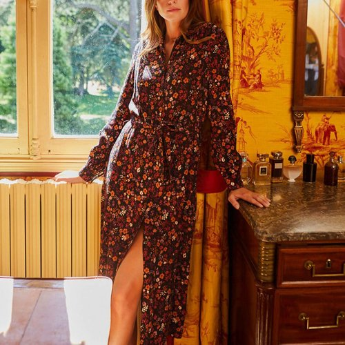 Robe chemise imprimée ceinturée AURELIA - PETITE MENDIGOTE - Modalova