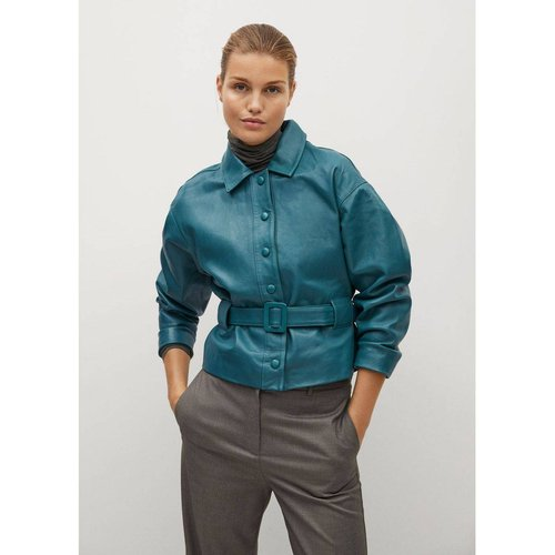 Blouson cuir ceinture - Mango - Modalova