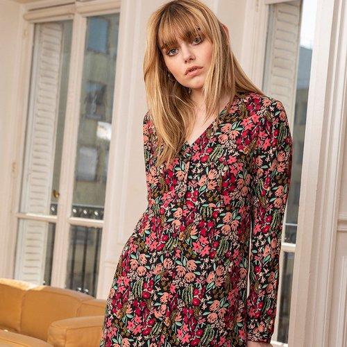 Robe courte imprimé floral - CHEMINS BLANCS - Modalova