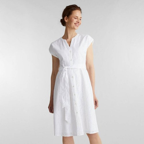 Robe chemise, manches courtes, broderie anglaise - Esprit - Modalova