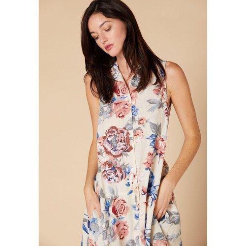 Robe fleurie boutonnée avec lien à la taille - DERHY - Modalova
