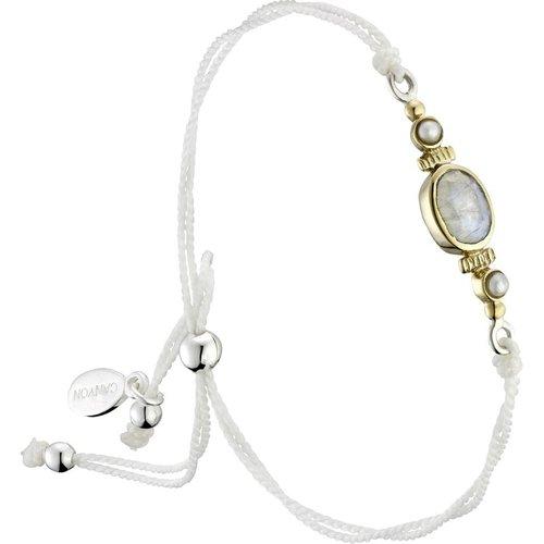 Bracelet cordon en argent 925, dorure or, Pierre de lune, Perle fine, 1.70g - Canyon - Modalova