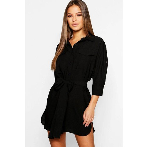 Robe portefeuille courte col polo, chemise manches longues - BOOHOO PETITE - Modalova