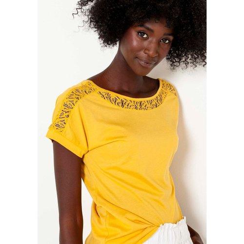 T-shirt empiècement dentelle - CAMAIEU - Modalova