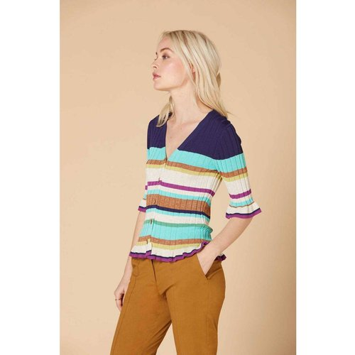 Cardigan à rayures multicolores - Modèle Identite - DERHY - Modalova