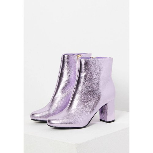 Boots mauve métallisé à talons - CAMAIEU - Modalova