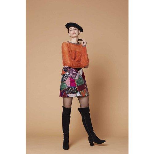 Mini jupe imprimée brodée patchwork - Offensive - DERHY - Modalova