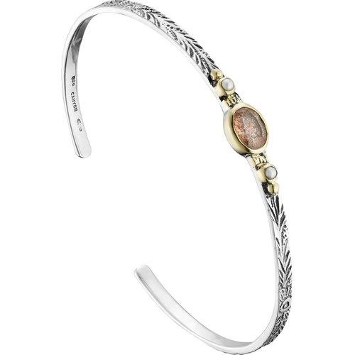 Bracelet jonc en argent 925, dorure or, Quartz, Perle fine, 5.97g, Ø60mm - Canyon - Modalova
