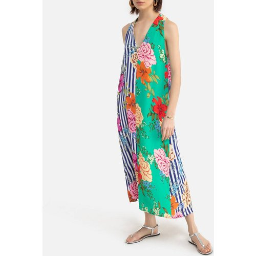 Robe Sigma col V à rayures et imprimés fleurs - DERHY - Modalova
