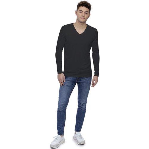 T-shirt col V bande rapportée manches longues raglan en modal DAN - RENDEZ-VOUS PARIS - Modalova