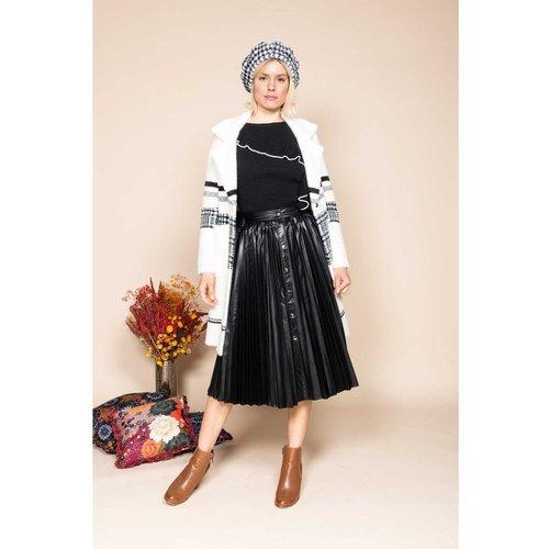 Jupe mi-longue en faux cuir plissé- Modèle Pétanque - DERHY - Modalova