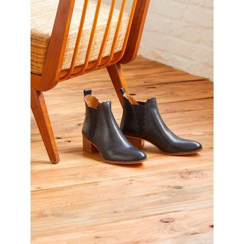 Boots chelsea festonnée cuir - CYRILLUS - Modalova