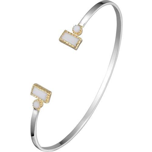 Bracelet jonc rectangle en argent 925, dorure en or, Céramique, 6.2g, Ø55mm - Canyon - Modalova