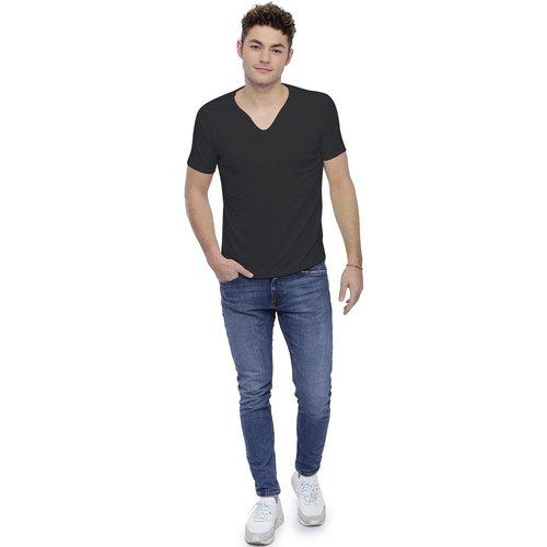 T-shirt col V boutonné manches courtes en modal LIAM - RENDEZ-VOUS PARIS - Modalova