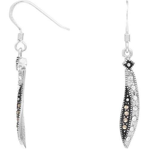 Boucles d'oreilles en Argent 925/1000 et Marcassite - CLEOR - Modalova