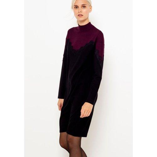 Robe pull bicolore empiècement dentelle - CAMAIEU - Modalova