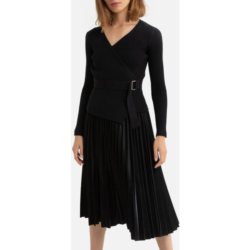 Robe longue plissée à col V, ceinture à nouer - DERHY - Modalova