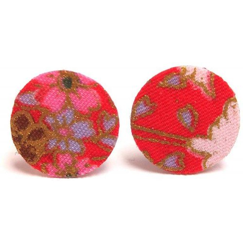 Boucles puces cuir et tissu japonais GRUES - JUL&FIL - Modalova