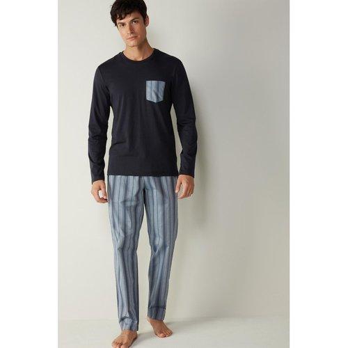 Pyjama long en coton supima® et toile - INTIMISSIMI - Modalova
