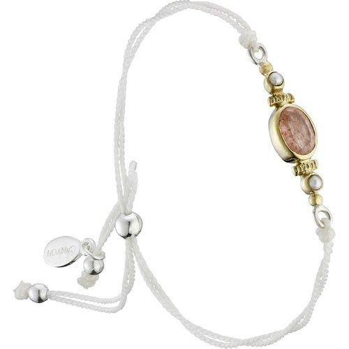 Bracelet cordon en argent 925, dorure or, Quartz, Perle fine, 1.70g - Canyon - Modalova