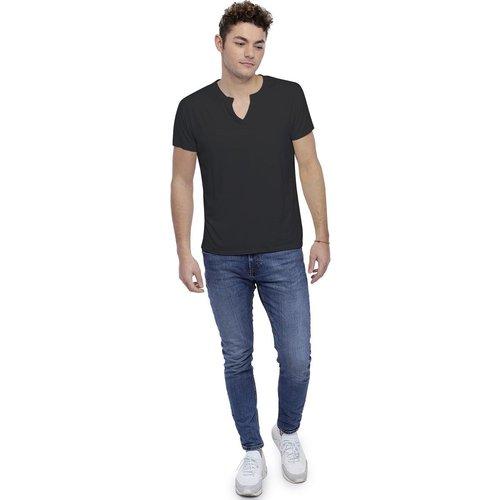 T-shirt col tunisien boutonné manches courtes en modal PAUL - RENDEZ-VOUS PARIS - Modalova