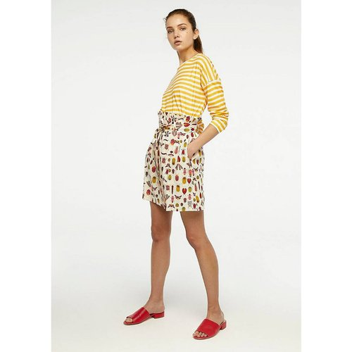 Jupe courte à motifs, ceinture et poches - COMPANIA FANTASTICA - Modalova