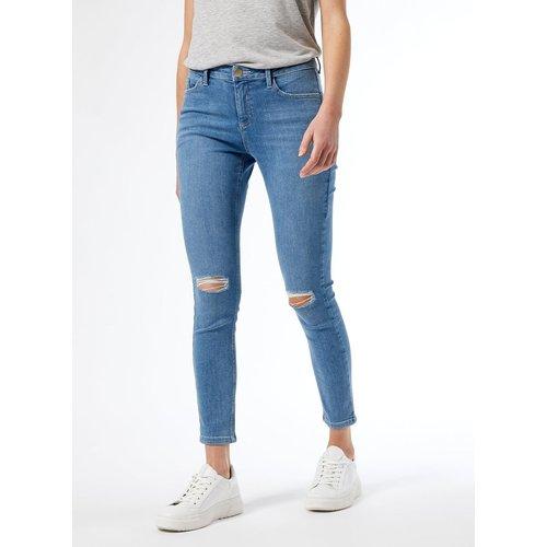 Jean skinny coton bio taille mi- haute déchiré - DOROTHY PERKINS - Modalova