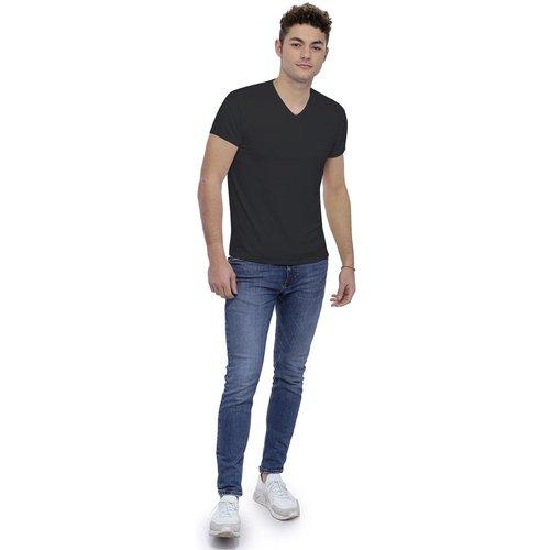 T-shirt col V finition colletage manches courtes en modal SAMUEL - RENDEZ-VOUS PARIS - Modalova