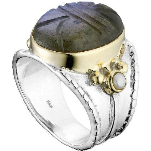 Bague en argent 925, dorure or, Labradorite, Perle fine, 11g, T54 - Canyon - Modalova