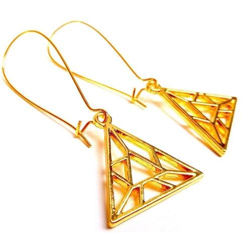 Boucles origami triangles doré - JUL&FIL - Modalova