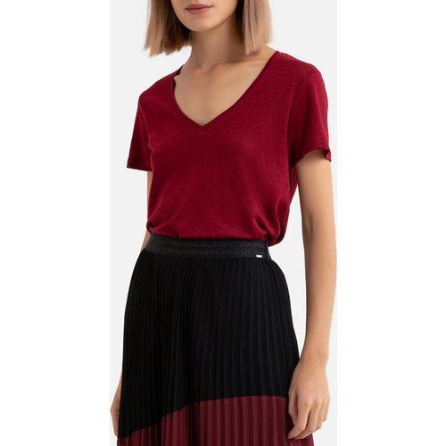 Tee shirt en lin col v manches courtes imprimé dos - IKKS - Modalova