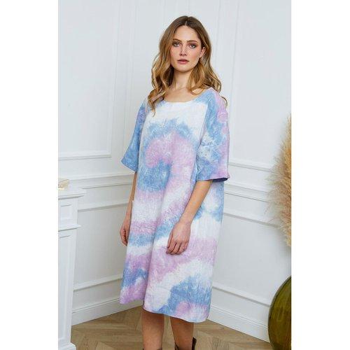 Robe tunique longue en lin imprimé tie and die - JOSEFINE - Modalova