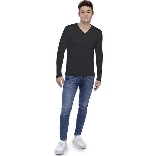 Tee-shirt col V finition colletage manches longues en modal SAMUEL - RENDEZ-VOUS PARIS - Modalova