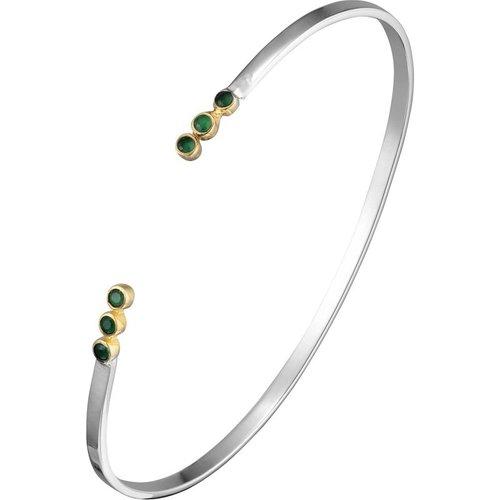 Bracelet jonc trio en argent 925, dorure en or, Onyx, , 5.3g, Ø55mm - Canyon - Modalova