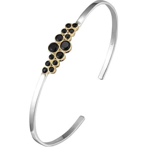 Bracelet jonc multi en argent 925, dorure en or, Onyx, , 6.3g, Ø55mm - Canyon - Modalova