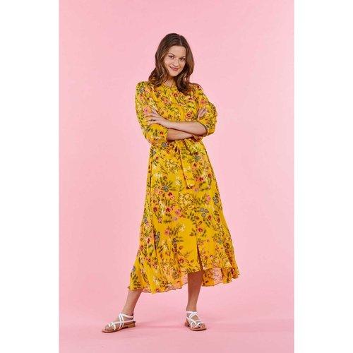 Robe chemise mi-longue, en crêpe imprimé de petites fleurs - DERHY - Modalova