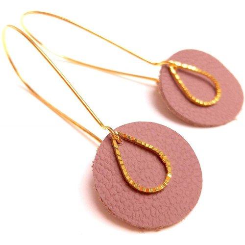 Boucles d'oreilles cuir vieux rose - JUL&FIL - Modalova