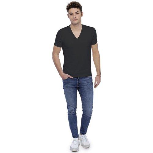 T-shirt col V profond bande rapportée manches courtes en modal JULIEN - RENDEZ-VOUS PARIS - Modalova