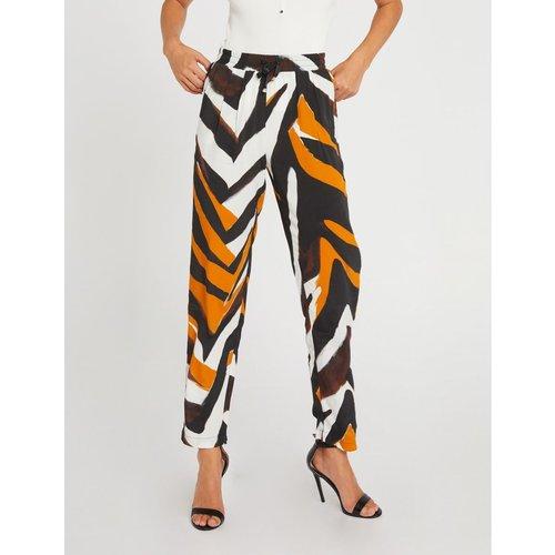 Pantalon droit taille haute imprimé - Morgan - Modalova